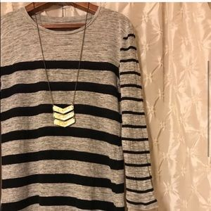 Madewell Tops - Madewell Linen Gray & Black Striped Top